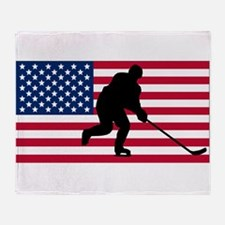 Hockey American Flag Throw Blanket