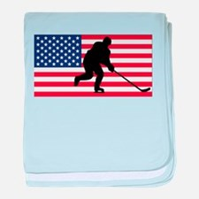 Hockey American Flag baby blanket
