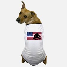 Hockey Goalie American Flag Dog T-Shirt