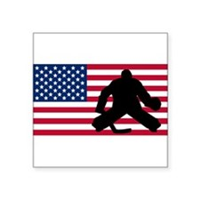 Hockey Goalie American Flag Sticker
