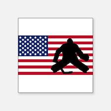 Hockey Goalie American Flag Sticker
