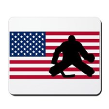 Hockey Goalie American Flag Mousepad