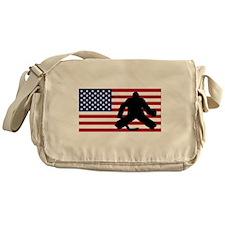 Hockey Goalie American Flag Messenger Bag