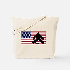 Hockey Goalie American Flag Tote Bag