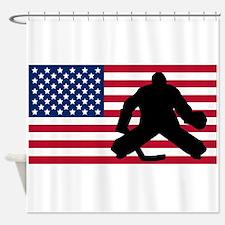 Hockey Goalie American Flag Shower Curtain