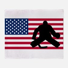Hockey Goalie American Flag Throw Blanket