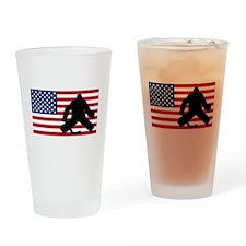 Hockey Goalie American Flag Drinking Glass
