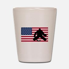 Hockey Goalie American Flag Shot Glass