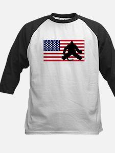 Hockey Goalie American Flag Baseball Jersey