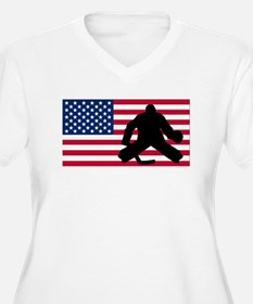 Hockey Goalie American Flag Plus Size T-Shirt