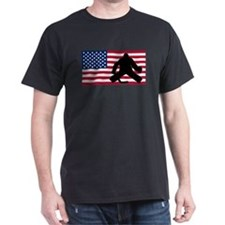 Hockey Goalie American Flag T-Shirt