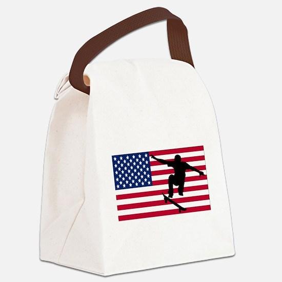 Skateboarding American Flag Canvas Lunch Bag
