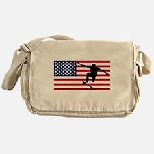 Skateboarding American Flag Messenger Bag