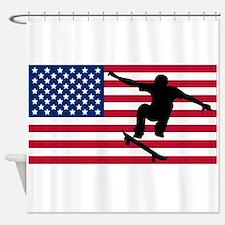 Skateboarding American Flag Shower Curtain