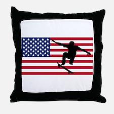 Skateboarding American Flag Throw Pillow
