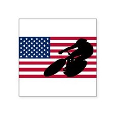 Cycling American Flag Sticker