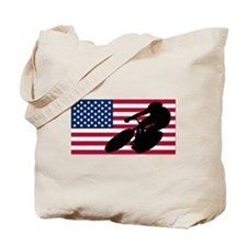 Cycling American Flag Tote Bag