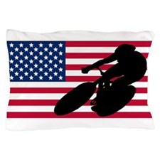 Cycling American Flag Pillow Case