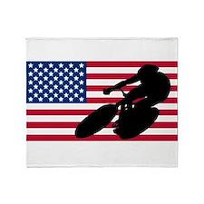 Cycling American Flag Throw Blanket
