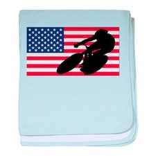 Cycling American Flag baby blanket