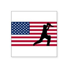 Cricket Player American Flag Sticker