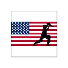 Cricket Player American Flag Sticker
