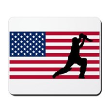 Cricket Player American Flag Mousepad