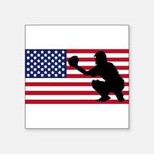 Baseball Catcher American Flag Sticker