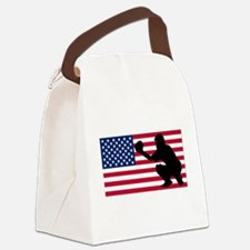 Baseball Catcher American Flag Canvas Lunch Bag
