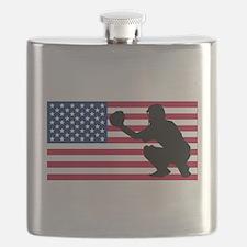 Baseball Catcher American Flag Flask