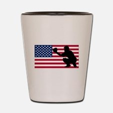 Baseball Catcher American Flag Shot Glass