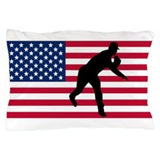 Baseball Pitcher American Flag Pillow Case