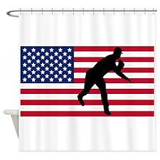 Baseball Pitcher American Flag Shower Curtain