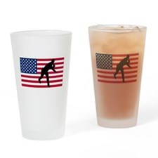 Baseball Pitcher American Flag Drinking Glass
