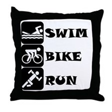 Swim Bike Run Throw Pillow