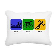 Swim Bike Run Rectangular Canvas Pillow