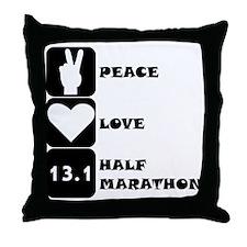Peace Love Half Marathon Throw Pillow