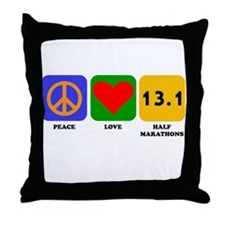 Peace Love Half Marathons Throw Pillow