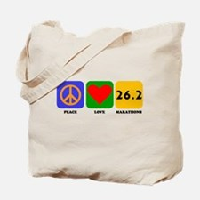Peace Love Marathons Tote Bag