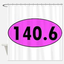 Pink 140.6 Triathlon Oval Shower Curtain