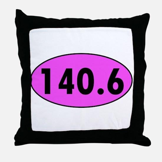 Pink 140.6 Triathlon Oval Throw Pillow