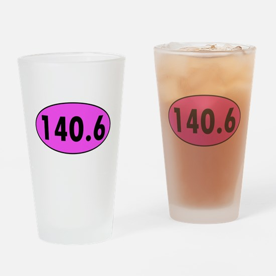 Pink 140.6 Triathlon Oval Drinking Glass