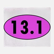 Pink 13.1 Half Marathon Oval Throw Blanket