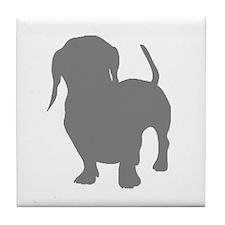 dachshund gray 1C Tile Coaster