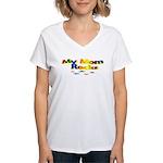 My Mom Rocks Women's V-Neck T-Shirt