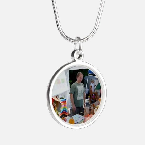 Garlic Festival Vendors Silver Round Necklace