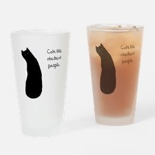 Cats Like Obedient People Drinking Glass