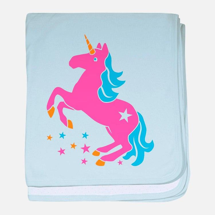 Pretty pink unicorn baby blanket