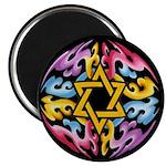 Rainbow Scroll-Star (black) Magnet