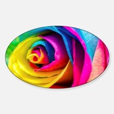 Rainbow Rose Sticker (Oval)